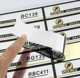 Etiquetas impressas lustrosas do vinil da folha de prata
