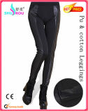 PU Leather y Cotton Patchwork Leggings Wide Waist Women Pants Babric Clothing Trousers (SR3060) de la manera y de Sexy