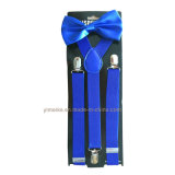 Bretelle de couleur solide de vente chaude et jeu réglables unisexes adultes de Bowtie
