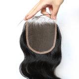 Clip grigia brasiliana del tessuto dei capelli di alta qualità nella chiusura superiore 4*4 S-Cl8a013