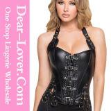 """Do desgaste """"sexy"""" do clube do látex das mulheres roupa interior de couro do espartilho de Underbust Cincher do treinamento da cintura do PVC"""