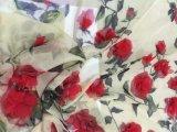 Nuevo diseño de la flor 3D tela de la gasa para el vestido de alta calidad
