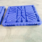 Única pálete material enfrentada personalizada do plástico do molde de sopro de 4-Way HDPE/PP