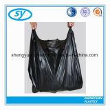 Bolsos negros plásticos de la camiseta de la basura del PE con la maneta