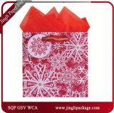 Schnee-Luxuxpapiergeschenk-Beutel, die Beutel-Träger-Beutel mit dem silbernen Stempeln verpacken