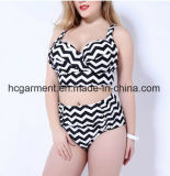 Swimsuit de tamanho grande para Lady, Plus-Size Strip Bikini Swimming Wear