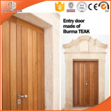 Твердая нутряная деревянная дверь и прикрепленные на петлях двери, дверь славного возникновения деревянная французская для балкона и террасы