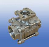 Válvula de esfera do aço inoxidável 3PC com almofada ISO5211 de Mouiing