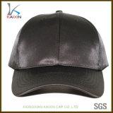 Custom Fashion Black Satin 6 Painel em branco boné de beisebol