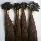 担保付きの毛の拡張ごとの100%の人間の毛髪の平らな先端/