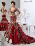 Rote Spitze-Nixe-Brautkleid-langes Hülsen-Hochzeits-Kleid Wdo88