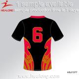 La sublimation d'hommes de Healong entièrement conçoivent des chemises en fonction du client de rugby de polyester