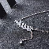 Ожерелье новых листьев стерлингового серебра способа 925 длиннее привесное, ясные шкентели женщин CZ & ювелирные изделия верхнего качества ожерель