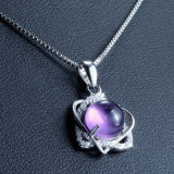 Violetkleurige van 925 van vrouwen de Echte Zilveren hart-Gevormde Halsband van de Tegenhanger