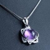 Collana Pendant Amethyst Heart-Shaped dell'argento sterlina delle donne 925