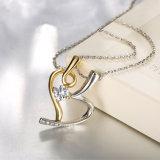 Ontwerp Twee van de manier het Goud van de Halsband van de Tegenhanger van het Kristal van het Hart van de Kleur met Geplateerd Platina