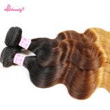 OmbreカラーマレーシアのRemyの毛ボディ波の毛の束