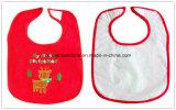 OEMの農産物はChistmasによって刺繍された綿によってカスタマイズされた祝祭の昇進の幼児胸当てをカスタマイズした