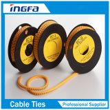 Tira de etiqueta de plástico del cable Ms-130 usada con el tipo etiquetas de plástico de la EC del cable del amarillo