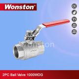 Válvula de esfera do aço inoxidável 2PC da alta qualidade com tipo 1000wog da luz do fechamento