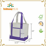 "14 "" mini Small Cotton Canvas Party Favor Wedding Gift Tote Bag in Purple"