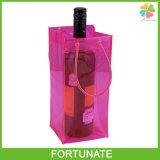 Sacchetto promozionale del dispositivo di raffreddamento del ghiaccio della bottiglia di vino del PVC della maniglia del tubo del vinile