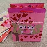 Sacs heureux faits sur commande de cadeau de vacances d'amour de scintillement de sac de cadeau de papier d'imprimerie du jour de Valentine