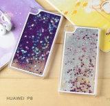 Cas liquide de couverture de téléphone cellulaire de sable de PC en gros de qualité de la Chine pour la caisse de téléphone de sable mouvant de Huawei P8 P9