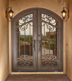 Portas de entrada superiores quadradas personalizadas do dobro do ferro feito