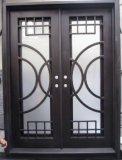 Portas principais superiores de ferro feito do arco elegante com Baixo-e vidro