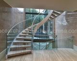 Das escadarias novas do arco do projeto de China escadas de vidro/escadaria circular do vidro do arco