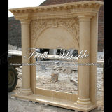 Camino di marmo Mfp-331 dell'oro del deserto del camino del granito del camino di pietra del camino