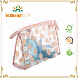 Women를 위한 Clear 방수 PVC Polka Dots Cosmetic Toiletry Organizer