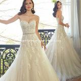 Corsé A - línea Tulle de los vestidos nupciales del cordón que rebordea las alineadas de boda W15172