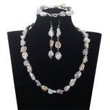 Snh 12 mm perlas Keshi perla Conjunto de boda nupcial conjunto collar de perlas