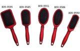 Toque macio vermelho de escova de cabelo da pá do revestimento de borracha