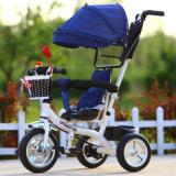 3つの車輪の子供三輪車の赤ん坊は1の子供の三輪車4をからかう