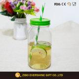 vaso di muratore di vetro 750ml con il coperchio della paglia