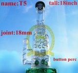 Tubo de agua de cristal del tabaco de la corona T6 del reciclador del color del tazón de fuente del arte del cenicero de los tubos de la burbuja grande embriagadora de cristal de cristal alta de cristal del cubilete