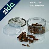 tarro claro redondo plástico del animal doméstico 310ml con la tapa negra plástica del tornillo/el animal doméstico blanco