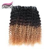 O cabelo peruano cru tece, extensões do cabelo de Ombre Remy do tom da qualidade superior dois