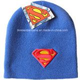 OEMの農産物はロゴによって刺繍された編まれた帽子のアクリルの冬のスキー毎日の帽子の青の帽子をカスタマイズした