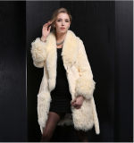 2015 Style longo Real Rabbit Fur Overcoat para Winter Lady