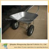 Rodas dobro e Wheelbarrow galvanizado da bandeja (WB6211) para o mercado do russo