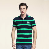 면 폴로 셔츠 건조한 적합 남자의 줄무늬 골프 폴로 셔츠