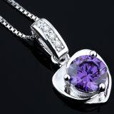 女性の方法925純銀製の中心の形の紫色の水晶吊り下げ式のネックレス