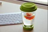Tazza di tè portatile doppia fatta a mano del caffè con la gomma ed il coperchio del silicone