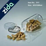 Diámetro 250 ml animal doméstico plástico de los frutos secos con tapa de aluminio