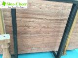 Azulejo de mármol rojo del grano de madera de los derechos para el diseño del suelo