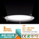 Ce / RoHS 3-24W Techo redonda LED Panel de luz para interiores